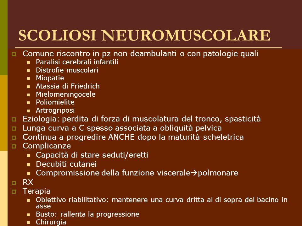 Dott.ssa Elisabetta Muccioli SCOLIOSI NEUROMUSCOLARE Comune riscontro in pz non deambulanti o con patologie quali Paralisi cerebrali infantili Distrof