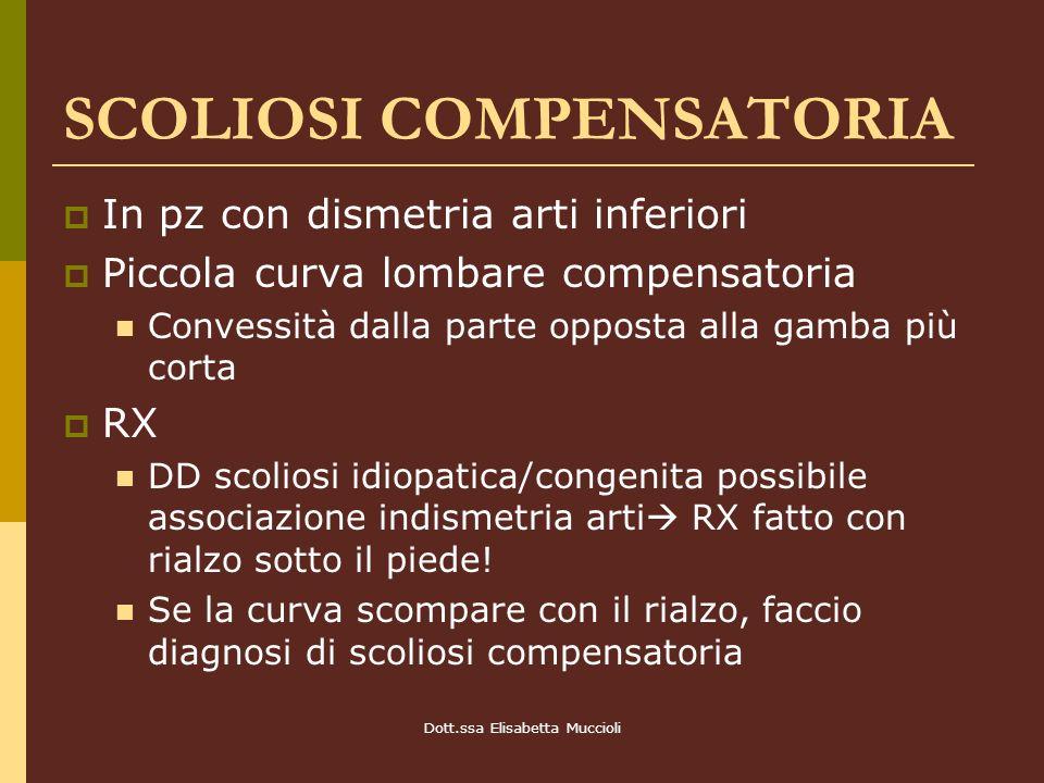 Dott.ssa Elisabetta Muccioli SCOLIOSI COMPENSATORIA In pz con dismetria arti inferiori Piccola curva lombare compensatoria Convessità dalla parte oppo