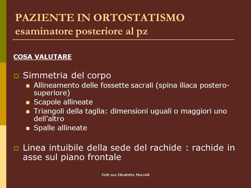 Dott.ssa Elisabetta Muccioli PAZIENTE IN ORTOSTATISMO esaminatore posteriore al pz COSA VALUTARE Simmetria del corpo Allineamento delle fossette sacra