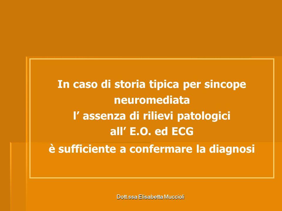 Dott.ssa Elisabetta Muccioli In caso di storia tipica per sincope neuromediata l assenza di rilievi patologici all E.O. ed ECG è sufficiente a conferm