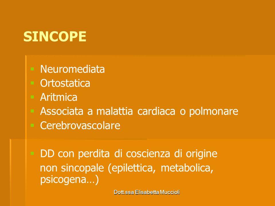 Dott.ssa Elisabetta Muccioli Neuromediata Vasovagale Situazionale Spasmi affettivi Ortostatica Disautonomia Farmaci Ipovolemia SINCOPE