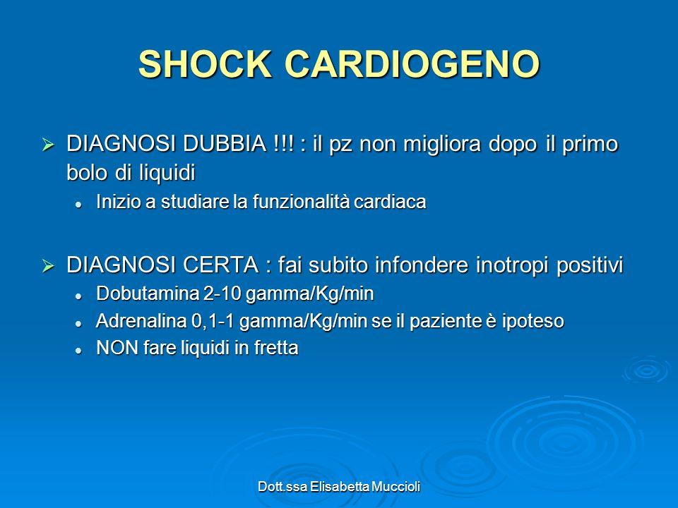 Dott.ssa Elisabetta Muccioli SHOCK CARDIOGENO DIAGNOSI DUBBIA !!! : il pz non migliora dopo il primo bolo di liquidi DIAGNOSI DUBBIA !!! : il pz non m