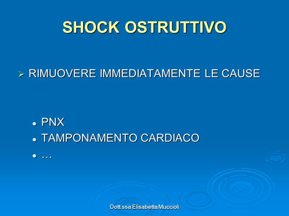 Dott.ssa Elisabetta Muccioli SHOCK OSTRUTTIVO RIMUOVERE IMMEDIATAMENTE LE CAUSE RIMUOVERE IMMEDIATAMENTE LE CAUSE PNX PNX TAMPONAMENTO CARDIACO TAMPON