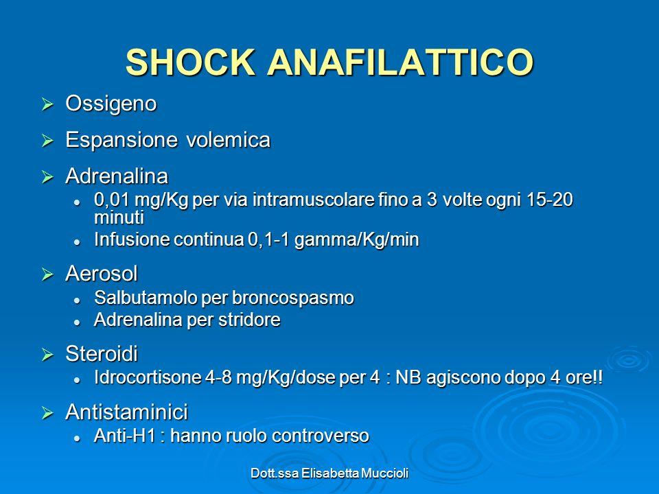 Dott.ssa Elisabetta Muccioli SHOCK ANAFILATTICO Ossigeno Ossigeno Espansione volemica Espansione volemica Adrenalina Adrenalina 0,01 mg/Kg per via int