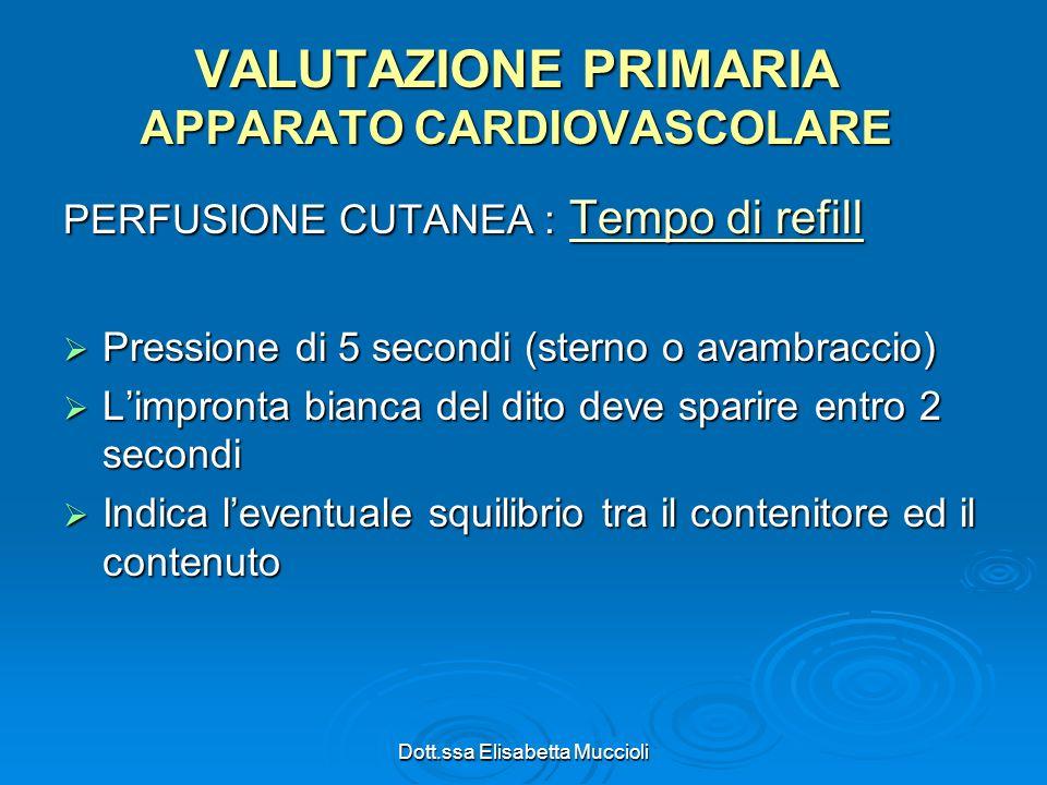 Dott.ssa Elisabetta Muccioli PERFUSIONE CUTANEA : Tempo di refill Pressione di 5 secondi (sterno o avambraccio) Pressione di 5 secondi (sterno o avamb