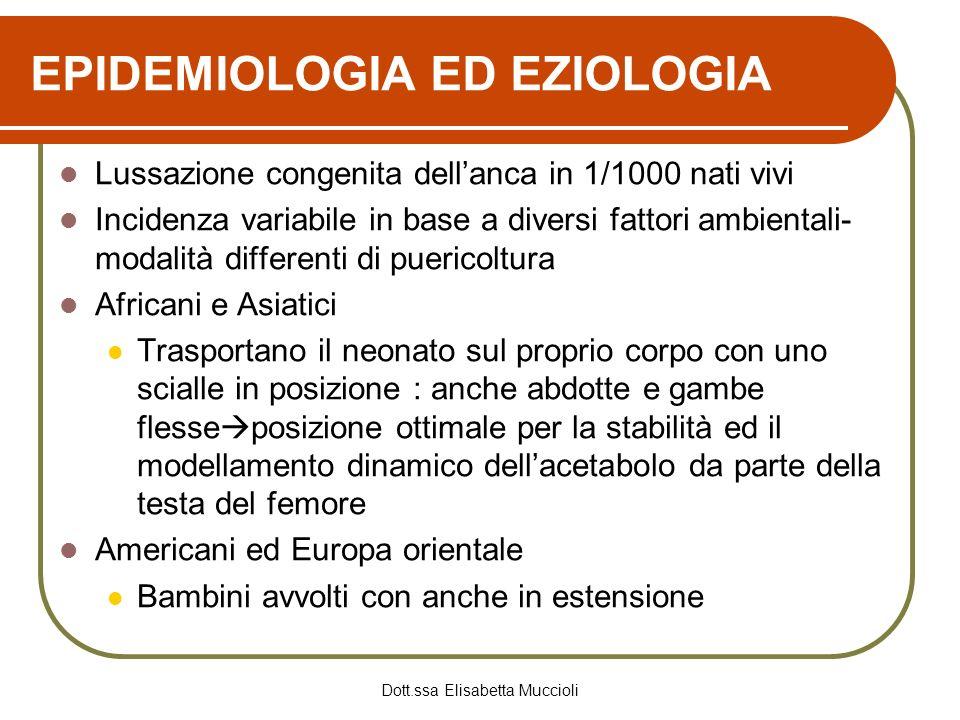Dott.ssa Elisabetta Muccioli EPIDEMIOLOGIA ED EZIOLOGIA Lussazione congenita dellanca in 1/1000 nati vivi Incidenza variabile in base a diversi fattor
