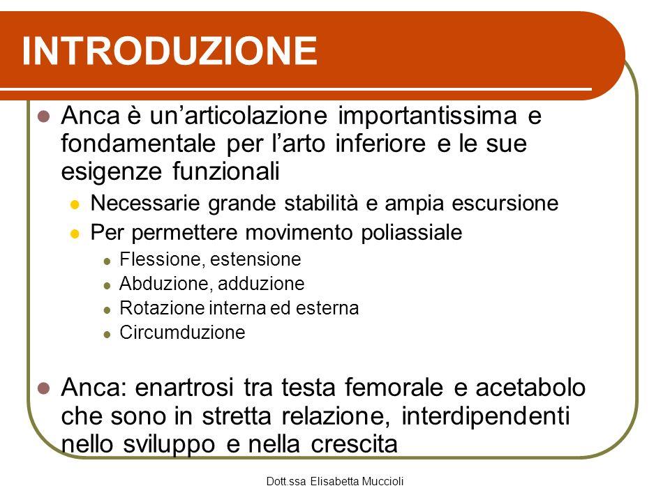 Dott.ssa Elisabetta Muccioli INTRODUZIONE Anca è unarticolazione importantissima e fondamentale per larto inferiore e le sue esigenze funzionali Neces