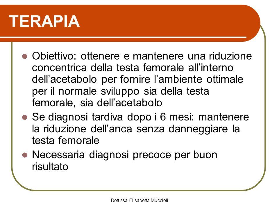 Dott.ssa Elisabetta Muccioli TERAPIA Obiettivo: ottenere e mantenere una riduzione concentrica della testa femorale allinterno dellacetabolo per forni