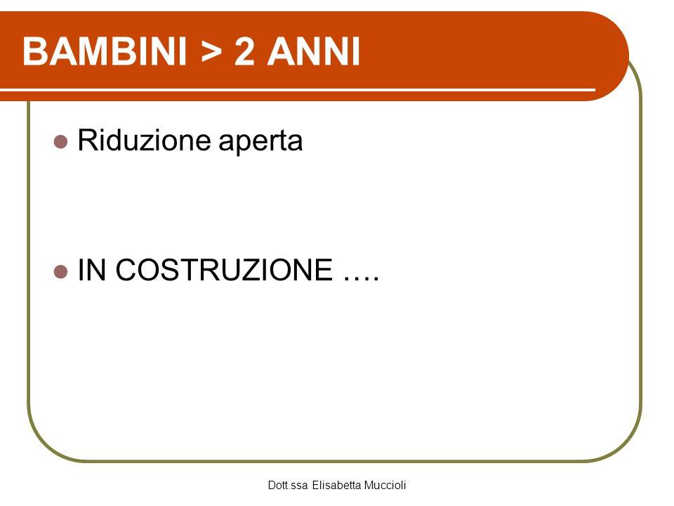 Dott.ssa Elisabetta Muccioli BAMBINI > 2 ANNI Riduzione aperta IN COSTRUZIONE ….