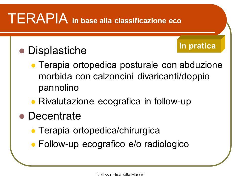 Dott.ssa Elisabetta Muccioli TERAPIA in base alla classificazione eco Displastiche Terapia ortopedica posturale con abduzione morbida con calzoncini d