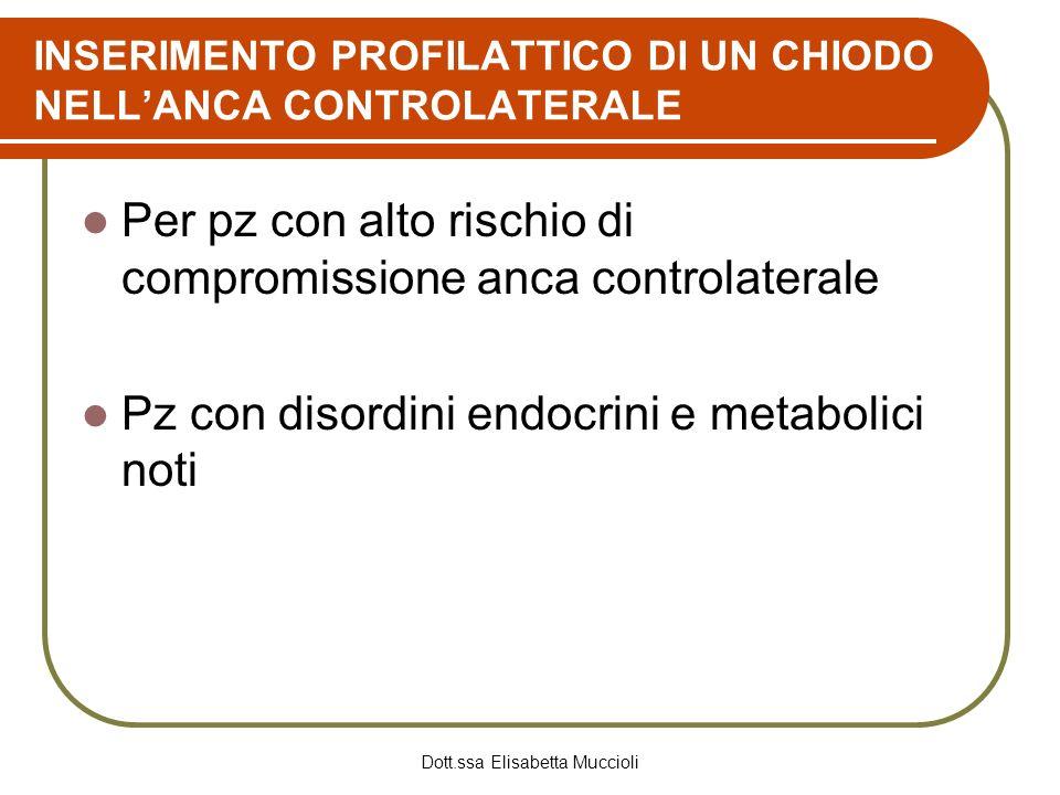 Dott.ssa Elisabetta Muccioli INSERIMENTO PROFILATTICO DI UN CHIODO NELLANCA CONTROLATERALE Per pz con alto rischio di compromissione anca controlatera