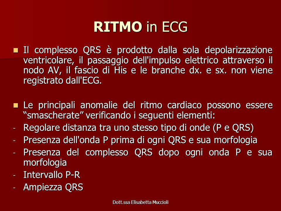 Dott.ssa Elisabetta Muccioli RITMO in ECG Il complesso QRS è prodotto dalla sola depolarizzazione ventricolare, il passaggio dell'impulso elettrico at
