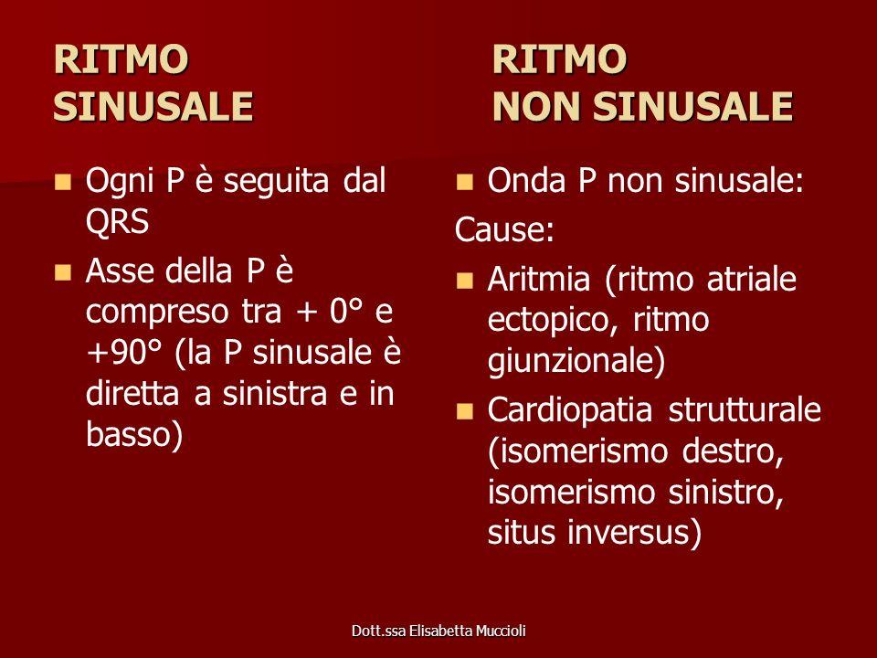 Dott.ssa Elisabetta Muccioli RITMO RITMO SINUSALENON SINUSALE Ogni P è seguita dal QRS Asse della P è compreso tra + 0° e +90° (la P sinusale è dirett