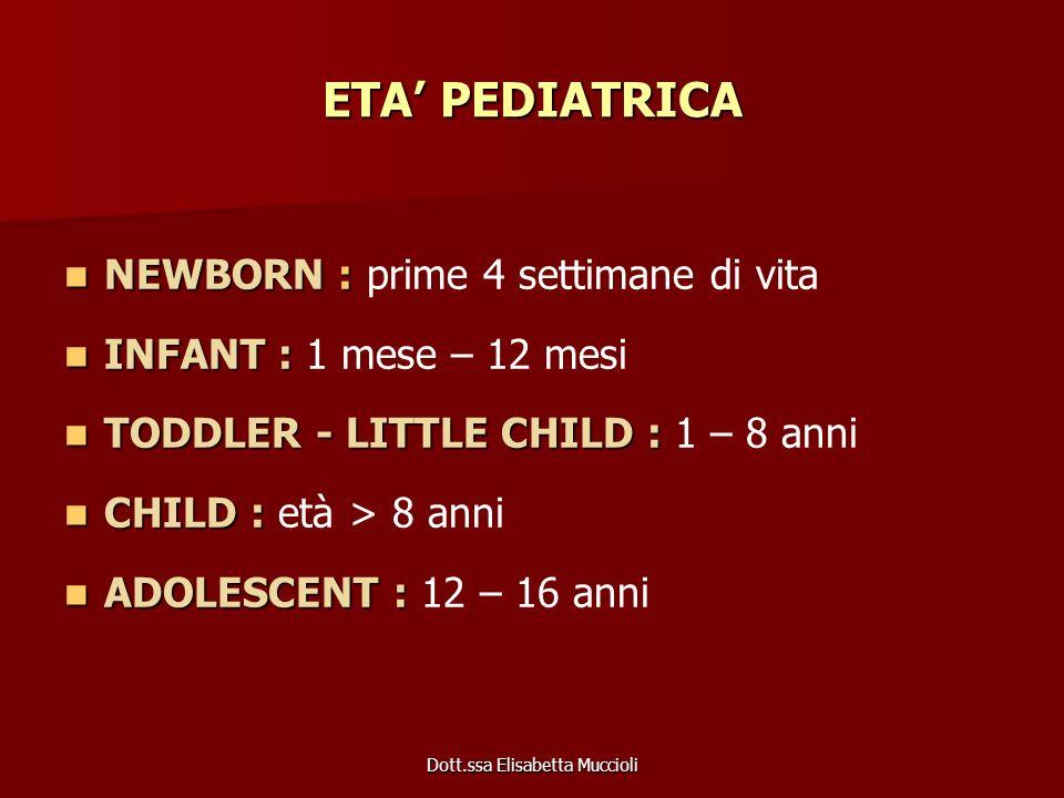 Dott.ssa Elisabetta Muccioli ETA PEDIATRICA NEWBORN : NEWBORN : prime 4 settimane di vita INFANT : INFANT : 1 mese – 12 mesi TODDLER - LITTLE CHILD :