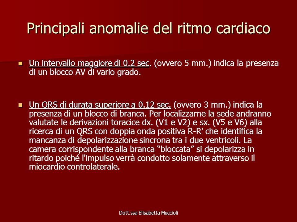 Dott.ssa Elisabetta Muccioli Principali anomalie del ritmo cardiaco Un intervallo maggiore di 0.2 sec. Un intervallo maggiore di 0.2 sec. (ovvero 5 mm