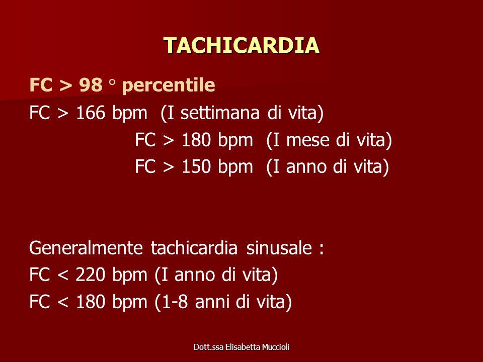 Dott.ssa Elisabetta Muccioli TACHICARDIA FC > 98 ° percentile FC > 166 bpm (I settimana di vita) FC > 180 bpm (I mese di vita) FC > 150 bpm (I anno di