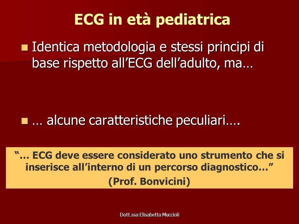 Dott.ssa Elisabetta Muccioli ECG in età pediatrica Identica metodologia e stessi principi di base rispetto allECG delladulto, ma… Identica metodologia
