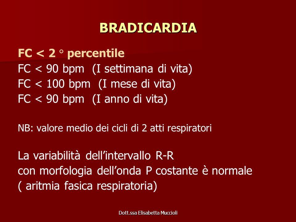 Dott.ssa Elisabetta Muccioli BRADICARDIA FC < 2 ° percentile FC < 90 bpm (I settimana di vita) FC < 100 bpm (I mese di vita) FC < 90 bpm (I anno di vi