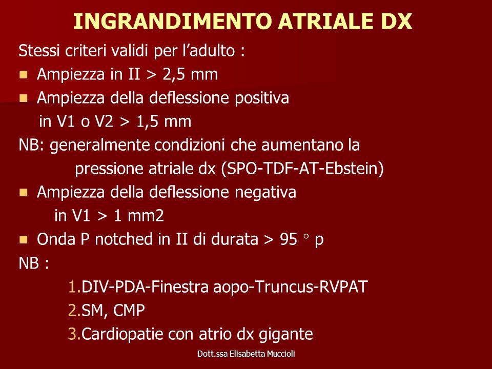 Dott.ssa Elisabetta Muccioli INGRANDIMENTO ATRIALE DX Stessi criteri validi per ladulto : Ampiezza in II > 2,5 mm Ampiezza della deflessione positiva