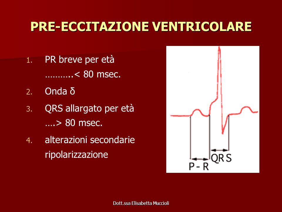 Dott.ssa Elisabetta Muccioli PRE-ECCITAZIONE VENTRICOLARE 1. 1. PR breve per età ………..< 80 msec. 2. 2. Onda δ 3. 3. QRS allargato per età ….> 80 msec.
