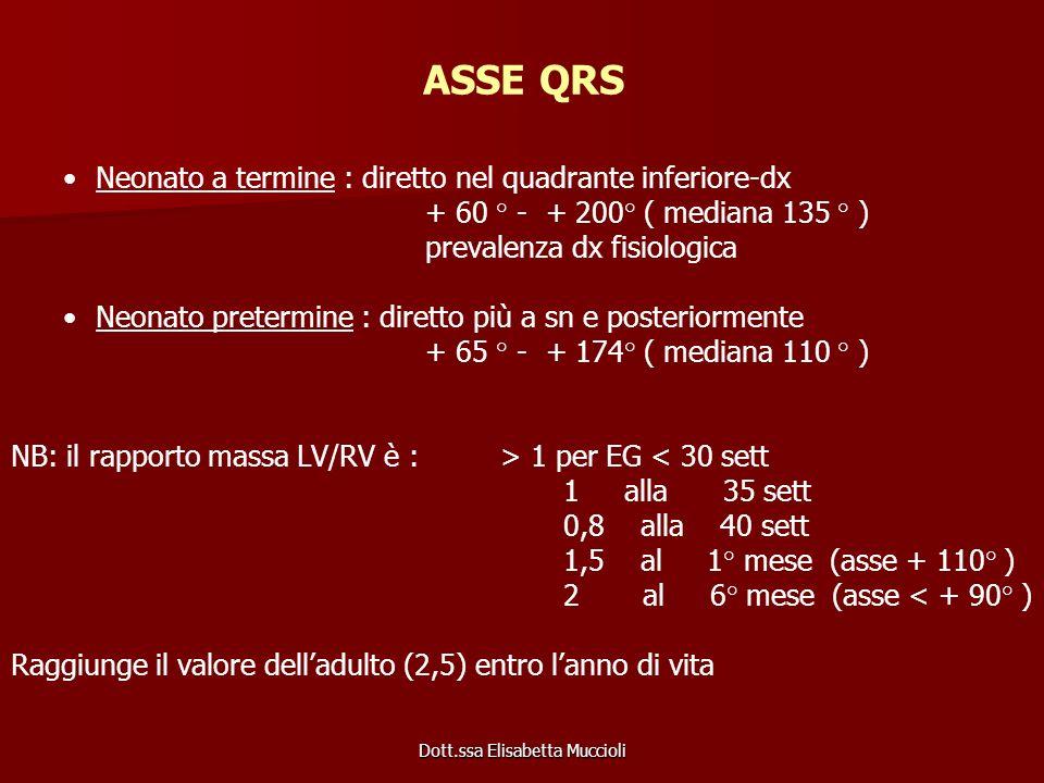 Dott.ssa Elisabetta Muccioli ASSE QRS Neonato a termine : diretto nel quadrante inferiore-dx + 60 ° - + 200° ( mediana 135 ° ) prevalenza dx fisiologi