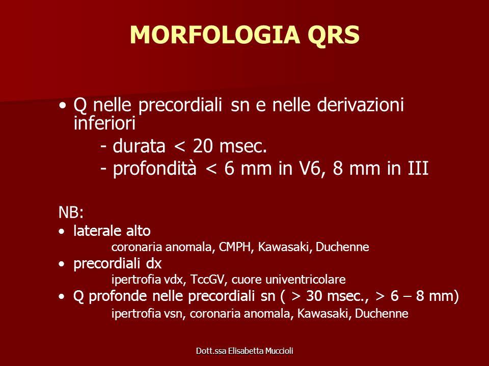 Dott.ssa Elisabetta Muccioli MORFOLOGIA QRS Q nelle precordiali sn e nelle derivazioni inferiori - durata < 20 msec. - profondità < 6 mm in V6, 8 mm i