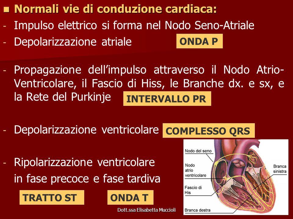 Dott.ssa Elisabetta Muccioli Normali vie di conduzione cardiaca: Normali vie di conduzione cardiaca: - - Impulso elettrico si forma nel Nodo Seno-Atri