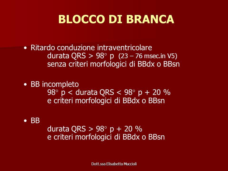 Dott.ssa Elisabetta Muccioli BLOCCO DI BRANCA Ritardo conduzione intraventricolare durata QRS > 98° p (23 – 76 msec.in V5) senza criteri morfologici d