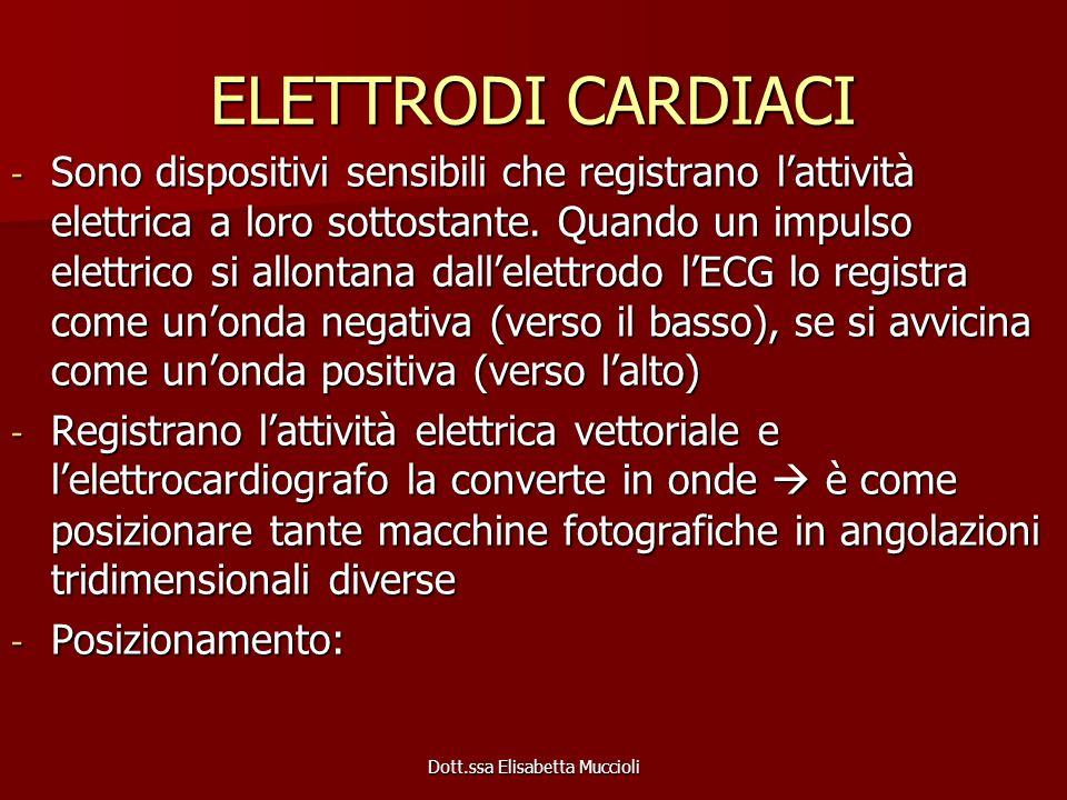 ELETTRODI CARDIACI - Sono dispositivi sensibili che registrano lattività elettrica a loro sottostante. Quando un impulso elettrico si allontana dallel