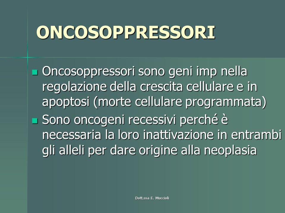 ONCOSOPPRESSORI Oncosoppressori sono geni imp nella regolazione della crescita cellulare e in apoptosi (morte cellulare programmata) Oncosoppressori s