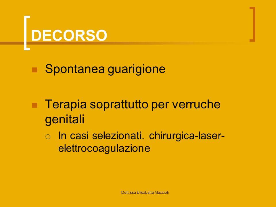 Dott.ssa Elisabetta Muccioli DECORSO Spontanea guarigione Terapia soprattutto per verruche genitali In casi selezionati. chirurgica-laser- elettrocoag