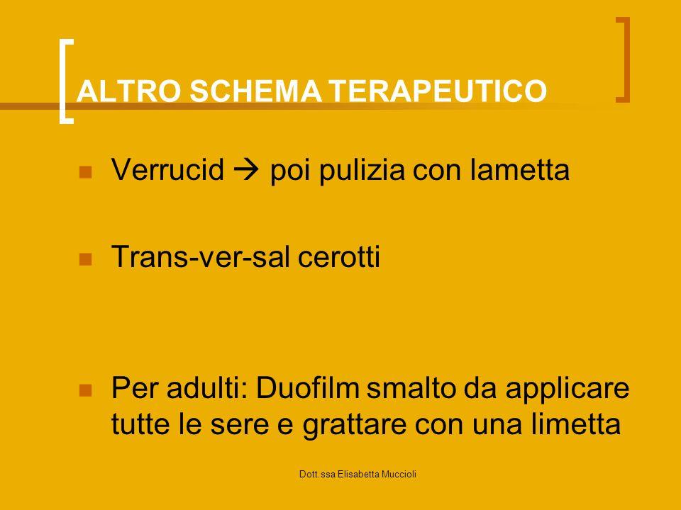 Dott.ssa Elisabetta Muccioli ALTRO SCHEMA TERAPEUTICO Verrucid poi pulizia con lametta Trans-ver-sal cerotti Per adulti: Duofilm smalto da applicare t