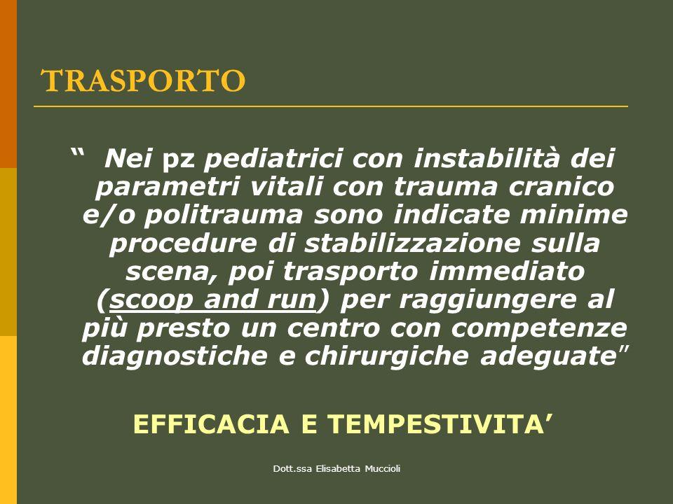 Dott.ssa Elisabetta Muccioli TRASPORTO Nei pz pediatrici con instabilità dei parametri vitali con trauma cranico e/o politrauma sono indicate minime p