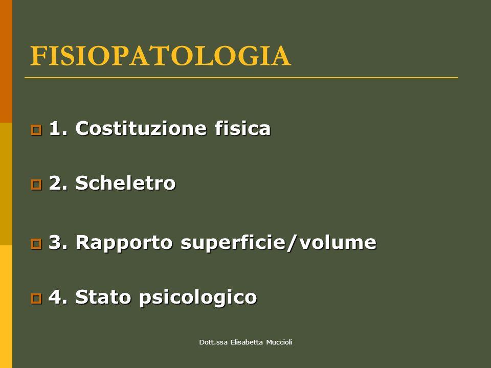 Dott.ssa Elisabetta Muccioli FISIOPATOLOGIA 1. Costituzione fisica 1. Costituzione fisica 2. Scheletro 2. Scheletro 3. Rapporto superficie/volume 3. R