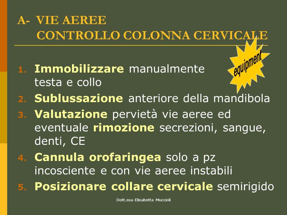 Dott.ssa Elisabetta Muccioli A- VIE AEREE CONTROLLO COLONNA CERVICALE 1. Immobilizzare manualmente testa e collo 2. Sublussazione anteriore della mand