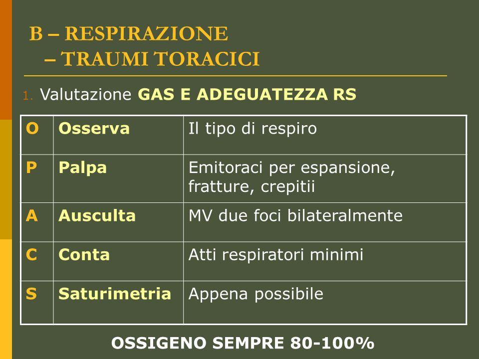 Dott.ssa Elisabetta Muccioli B – RESPIRAZIONE – TRAUMI TORACICI OOsservaIl tipo di respiro PPalpaEmitoraci per espansione, fratture, crepitii AAuscult