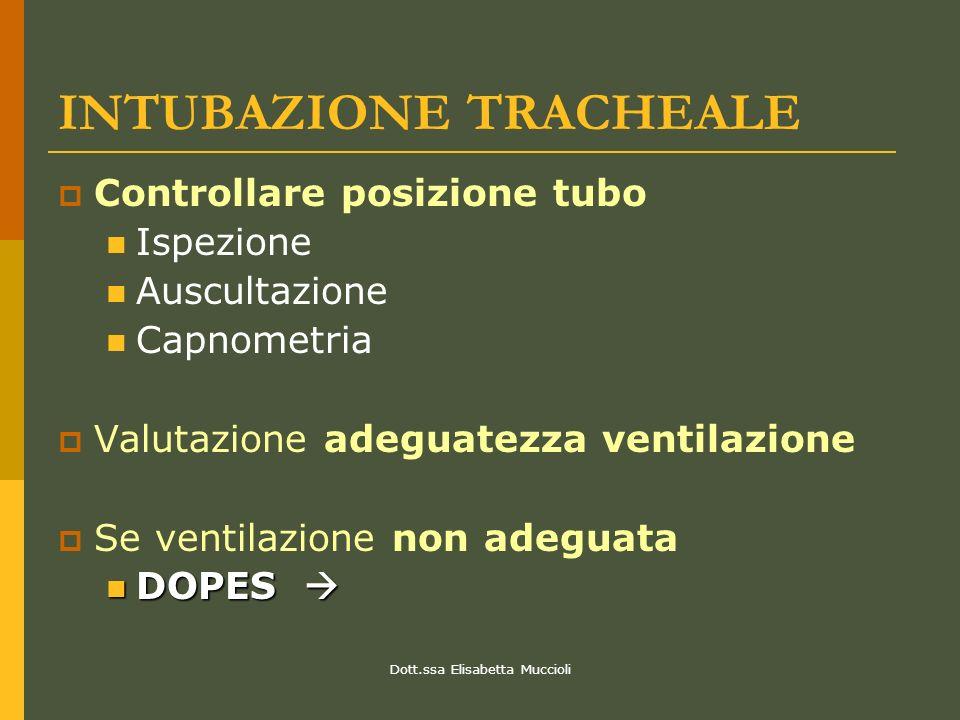 Dott.ssa Elisabetta Muccioli INTUBAZIONE TRACHEALE Controllare posizione tubo Ispezione Auscultazione Capnometria Valutazione adeguatezza ventilazione