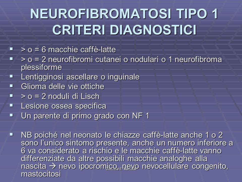 Dott.ssa E. Muccioli NEUROFIBROMATOSI TIPO 1 CRITERI DIAGNOSTICI > o = 6 macchie caffè-latte > o = 6 macchie caffè-latte > o = 2 neurofibromi cutanei