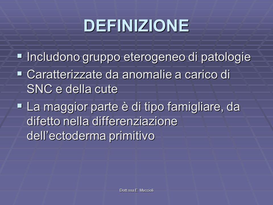 Dott.ssa E. Muccioli DEFINIZIONE Includono gruppo eterogeneo di patologie Includono gruppo eterogeneo di patologie Caratterizzate da anomalie a carico