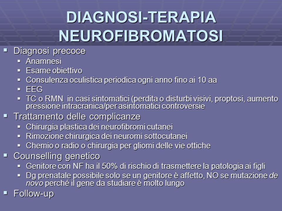 Dott.ssa E. Muccioli DIAGNOSI-TERAPIA NEUROFIBROMATOSI Diagnosi precoce Diagnosi precoce Anamnesi Anamnesi Esame obiettivo Esame obiettivo Consulenza
