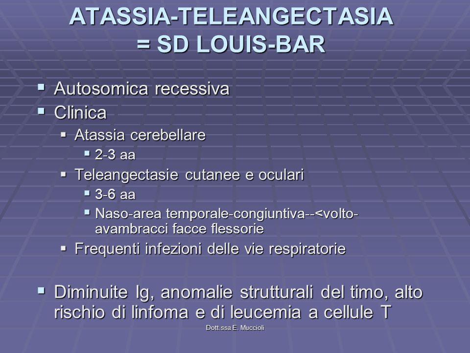 Dott.ssa E. Muccioli ATASSIA-TELEANGECTASIA = SD LOUIS-BAR Autosomica recessiva Autosomica recessiva Clinica Clinica Atassia cerebellare Atassia cereb