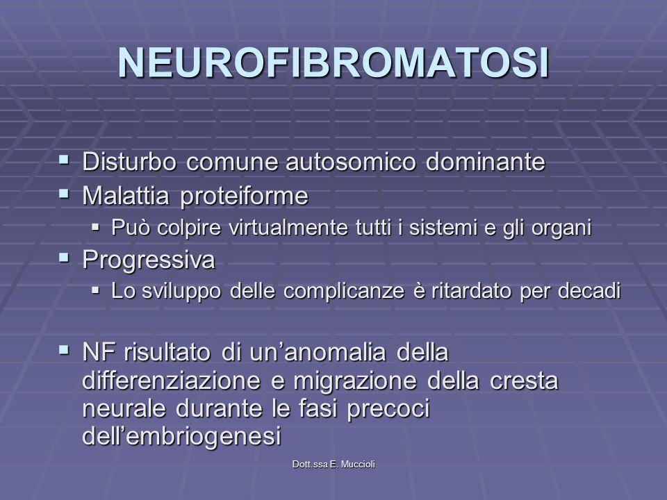 NEUROFIBROMATOSI Disturbo comune autosomico dominante Disturbo comune autosomico dominante Malattia proteiforme Malattia proteiforme Può colpire virtu
