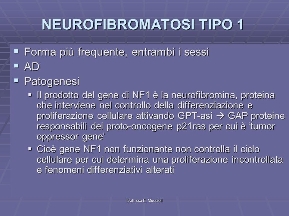 Dott.ssa E. Muccioli NEUROFIBROMATOSI TIPO 1 Forma più frequente, entrambi i sessi Forma più frequente, entrambi i sessi AD AD Patogenesi Patogenesi I