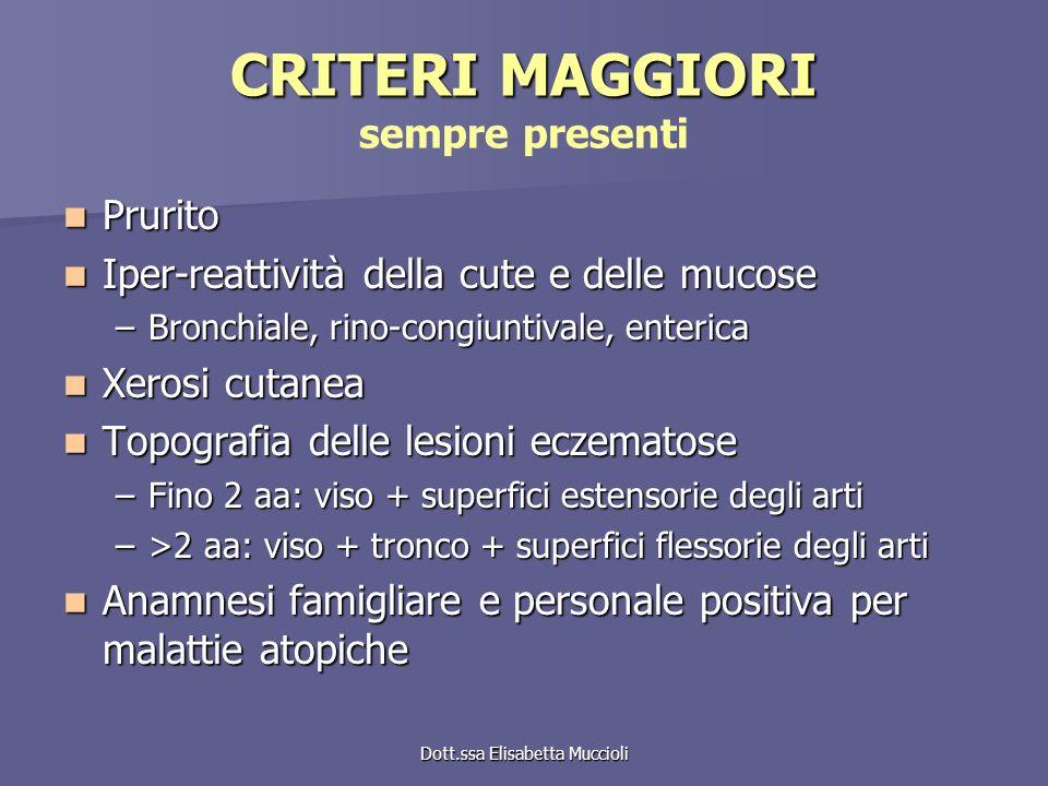 Dott.ssa Elisabetta Muccioli CRITERI MAGGIORI CRITERI MAGGIORI sempre presenti Prurito Prurito Iper-reattività della cute e delle mucose Iper-reattivi
