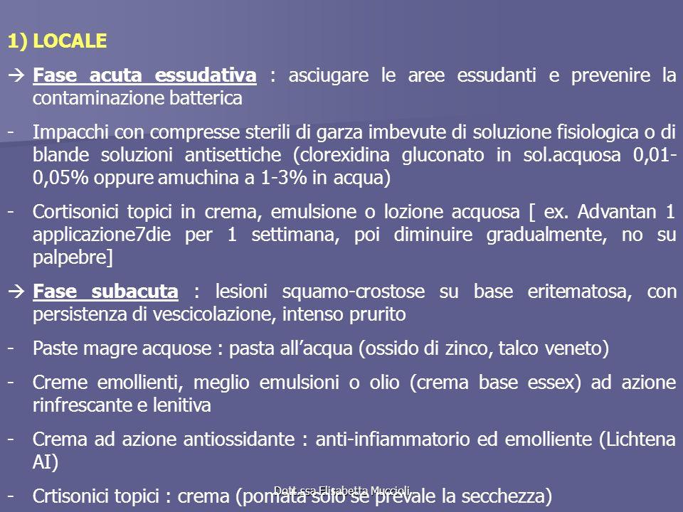 Dott.ssa Elisabetta Muccioli 1)LOCALE Fase acuta essudativa : asciugare le aree essudanti e prevenire la contaminazione batterica -Impacchi con compre