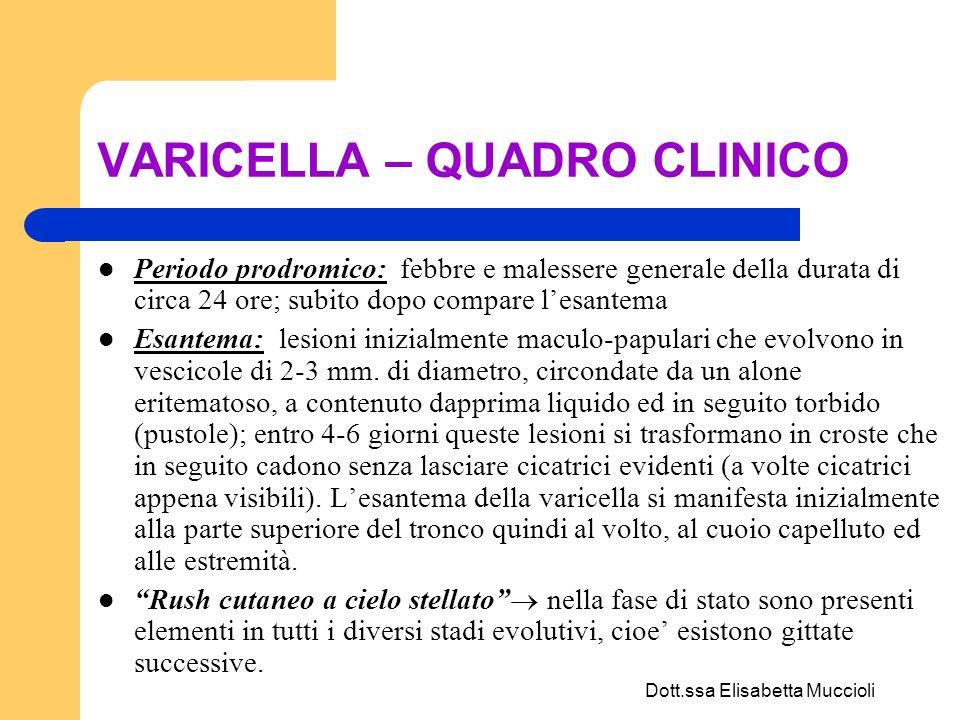 Dott.ssa Elisabetta Muccioli VARICELLA – QUADRO CLINICO Periodo prodromico: febbre e malessere generale della durata di circa 24 ore; subito dopo comp