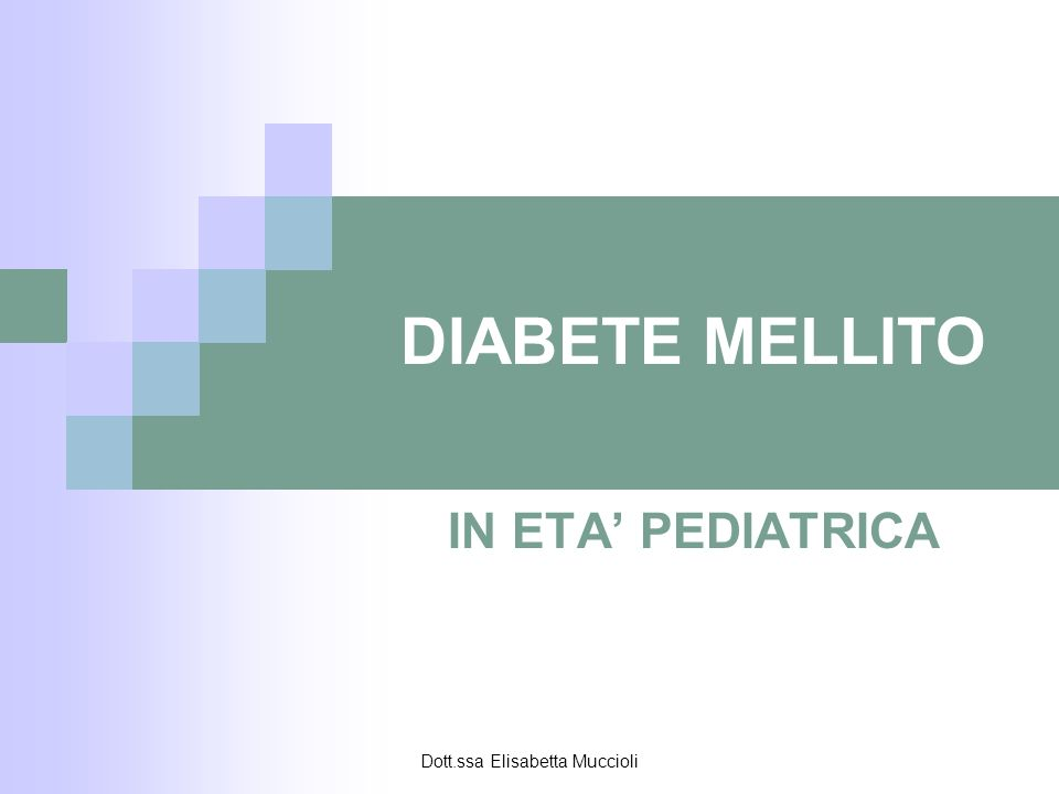 Dott.ssa Elisabetta Muccioli DIABETE MELLITO Si definisce diabete mellito la sindrome metabolica caratterizzata da iperglicemia; disordine del metabolismo glucidico causato da carenza assoluta o relativa di insulina - Glicemia a digiuno > 126 mg/dl - Glicemia random > 200 mg/dl con sintomatologia diabetica - Glicemia > 200 mg/dl a 2 ore dal test da carico orale di glucosio