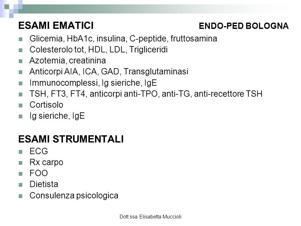 Dott.ssa Elisabetta Muccioli ESAMI EMATICI ENDO-PED BOLOGNA Glicemia, HbA1c, insulina, C-peptide, fruttosamina Colesterolo tot, HDL, LDL, Trigliceridi