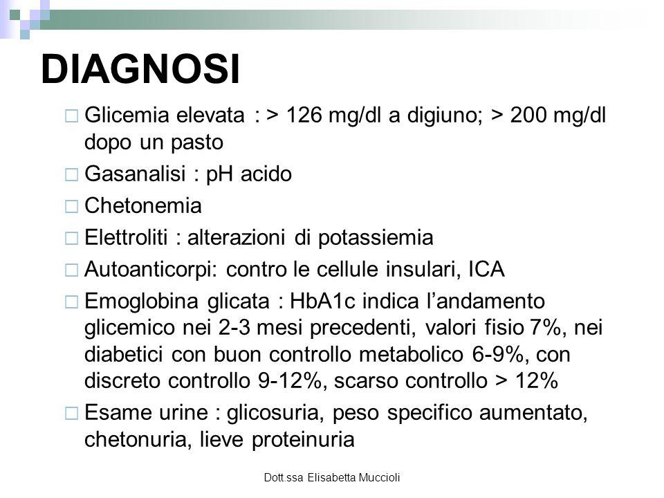 Dott.ssa Elisabetta Muccioli DIAGNOSI Glicemia elevata : > 126 mg/dl a digiuno; > 200 mg/dl dopo un pasto Gasanalisi : pH acido Chetonemia Elettroliti