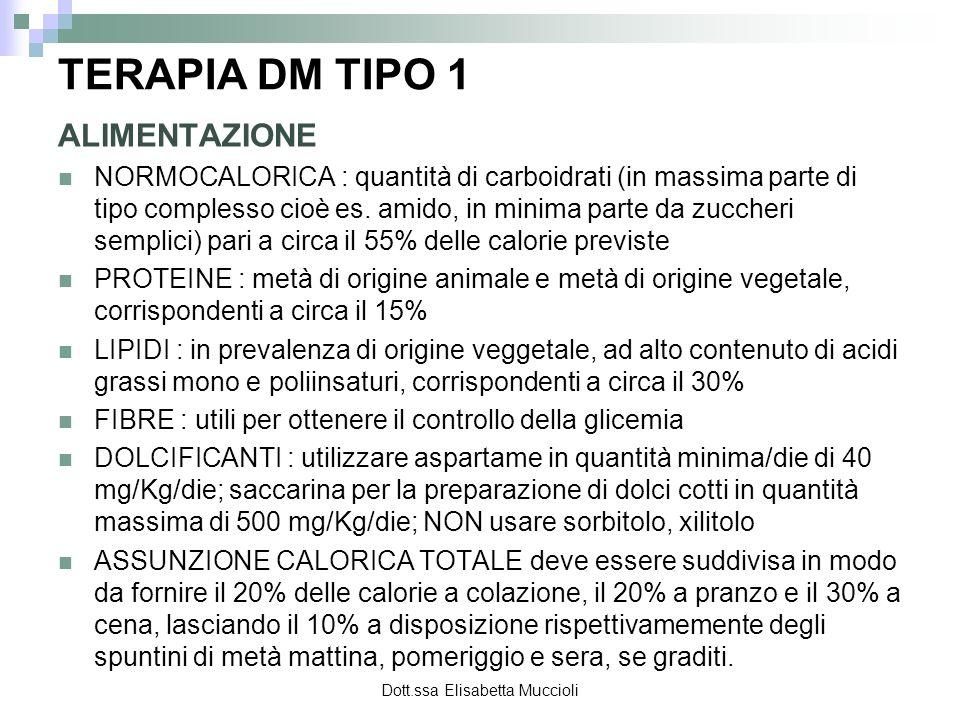 Dott.ssa Elisabetta Muccioli TERAPIA DM TIPO 1 ALIMENTAZIONE NORMOCALORICA : quantità di carboidrati (in massima parte di tipo complesso cioè es. amid